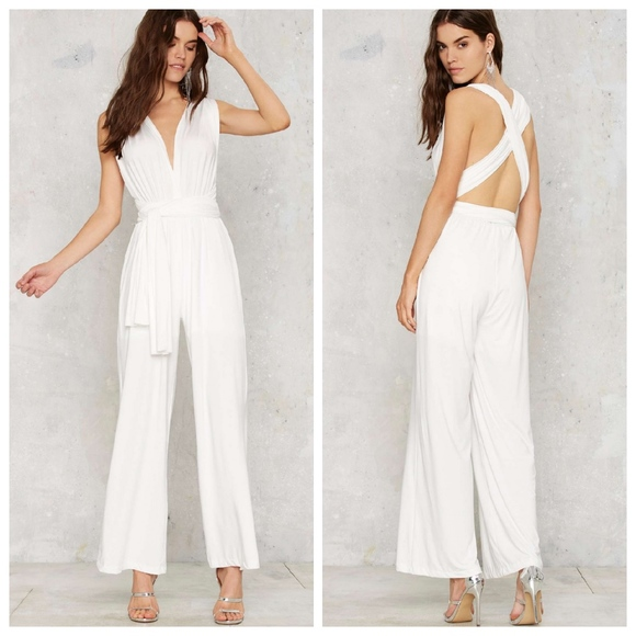 89ce93a94c33 Nasty Gal All Time Low Halter Jumpsuit - White